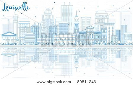 Outline Louisville Skyline with Blue Buildings and Reflections. Business Travel and Tourism Concept with Modern Architecture. Image for Presentation Banner Placard and Web Site.