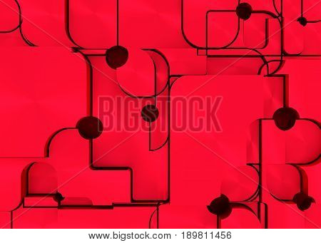 Desig with red polygonal colorful background. 3D rendering. Scattered polygons