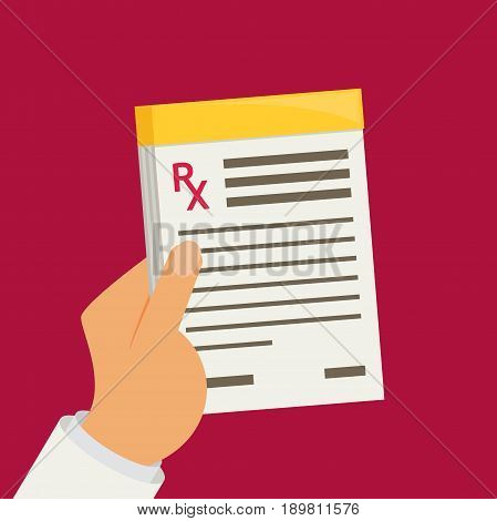 Prescription pad. Medical prescription vector illustration colorful.