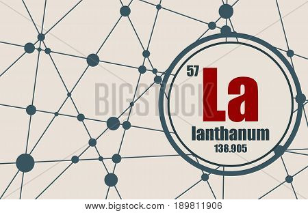 Lanthanum chemical element. Sign with atomic number and atomic weight. Chemical element of periodic table. Molecule And Communication Background. Connected lines with dots.