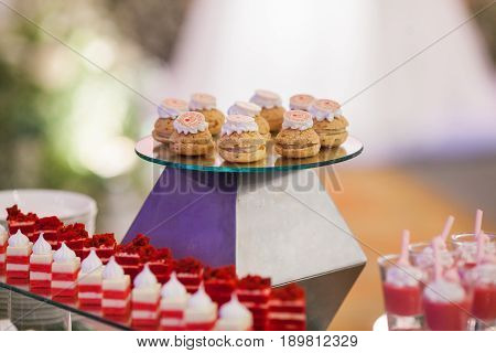 Stylish sweet candy buffe set at the wedding ceremony confectionery.