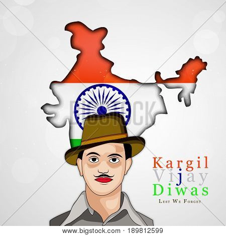 illustration of India map and Bhagat Singh in hat with kargil vijay diwas text