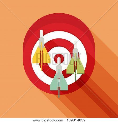 Target Concept Icon. Flat Vector Icon With Long Shadow Design Collection.