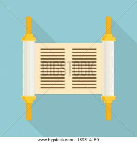 Vector Torah With Long Shadow, Flat Design