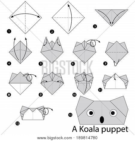 step by step instructions how to make origami A Koala Puppet.
