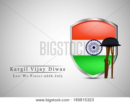 illustration of shield in india flag background with rifle and hat with kargil vijay diwas hindi language text
