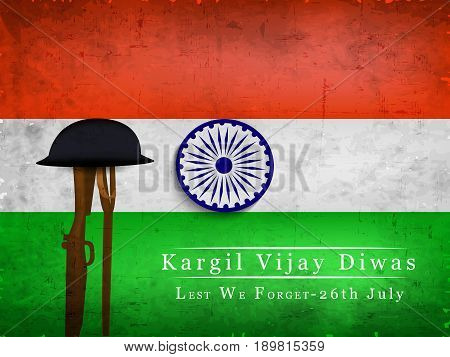 illustration of rifle and hat on India flag background with kargil vijay diwas text