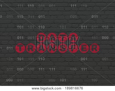 Data concept: Painted red text Data Transfer on Black Brick wall background with Binary Code