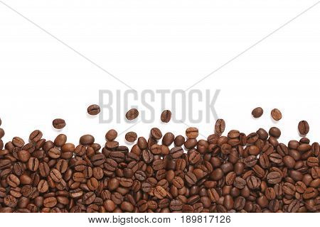 Coffee beans on white background roasted coffee beans