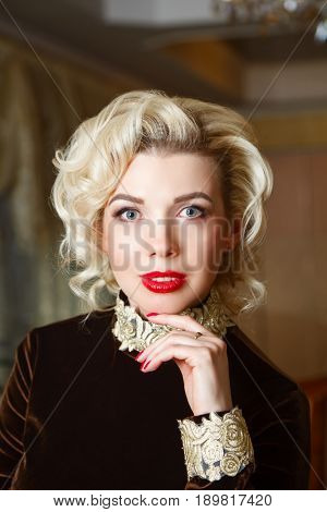 portrait of beautiful girl blonde. close-up