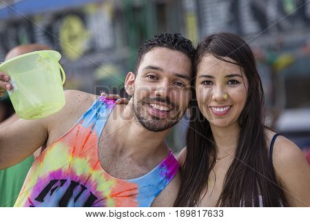 KOH PHANGAN THAILAND - NOVEMBER 16 2016 : Unidentified man and women participate in the Full Moon party on island Koh Phangan. The event now attracts anywhere from 40000 party-goers on normal month