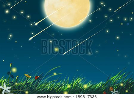 Beautiful Night with Big Moon and Shooting Stars. Video Game's Digital CG Artwork, Concept Illustration, Realistic Cartoon Style Background
