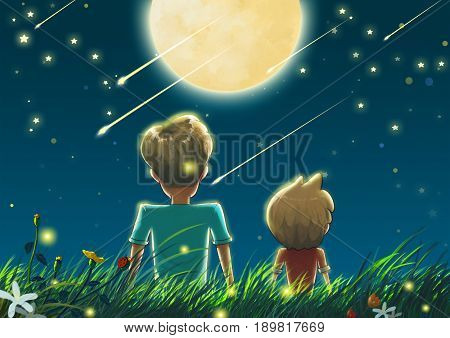 Father and Son in the Beautiful Night with Big Moon and Shooting Stars. Video Game's Digital CG Artwork, Concept Illustration, Realistic Cartoon Style Background