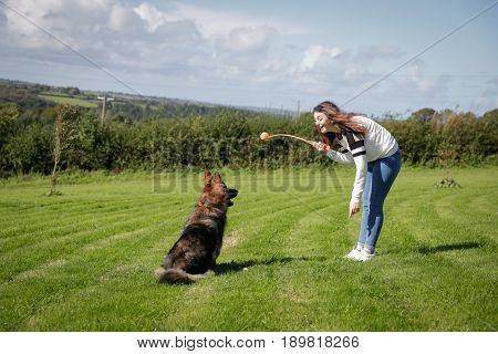 Teenage Girl Plays With Her Dog Outside In A Field