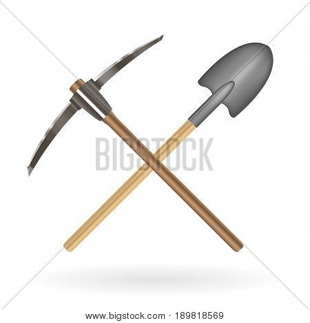cross shovel and pickaxe logo on a white background