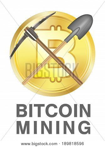 bitcoin mining logo with pickaxe and shovel on a golden bitcoin