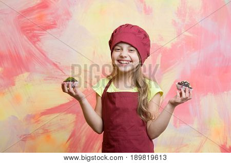 Kid, Happy Girl Cook In Red Chef Hat, Apron
