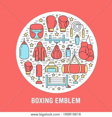 Boxing poster template. Vector sport training line icons, circle illustration of equipment - punchbag, boxer gloves, ring, heavy bags. Box club banner red background.