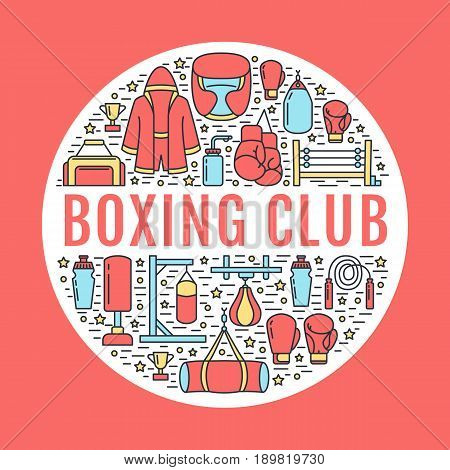Boxing poster template. Vector sport training line icons, circle illustration of equipment - punchbag, boxer gloves, ring, heavy bags. Box club banner with place for text, red background.