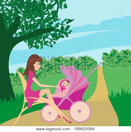 Mother and daughter in the park , vector illustration