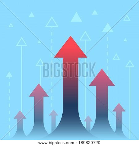 Arrows up, increase and success business illustration vector