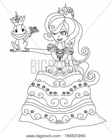Beautiful young princess and big frog , doodle illustration