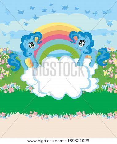 Card with a cute unicorns rainbow and flowery meadow , vector illustration