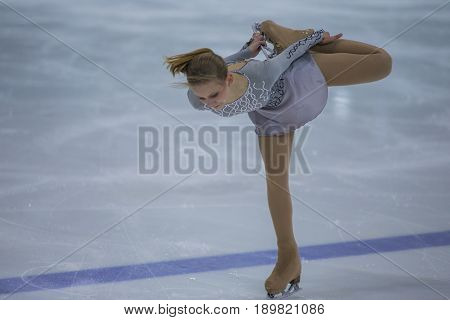 Minsk Belarus -April 23 2017: Unidentified Female Figure Skater Performs Adult Ladies Free Skating Program at Minsk Arena Cup 2017 International Figure Skating Competition in April 23 2017 in Minsk Belarus