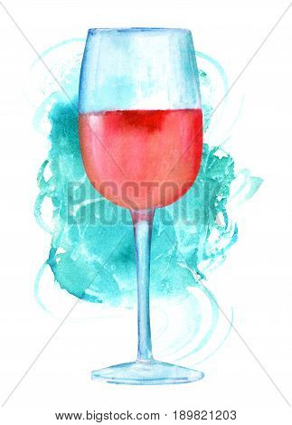 A watercolor drawing of glass of rose wine with a vibrant teal blue brush stroke, on a white background with a place for text