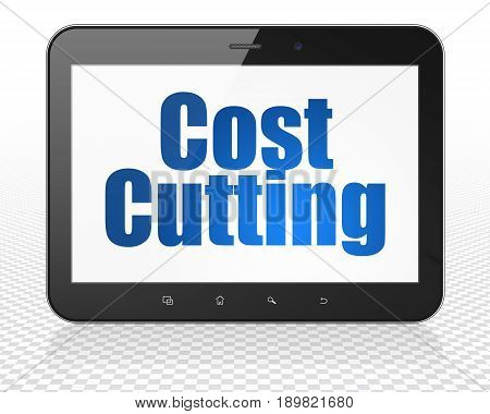 Business concept: Tablet Pc Computer with blue text Cost Cutting on display, 3D rendering