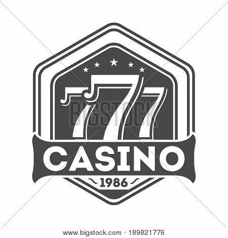Lucky sevens jackpot vintage isolated label. Poker club symbol, casino sign. Games of chance or fortune gambling emblem vector illustration.