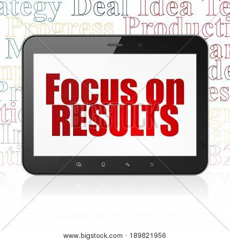 Business concept: Tablet Computer with  red text Focus on RESULTS on display,  Tag Cloud background, 3D rendering
