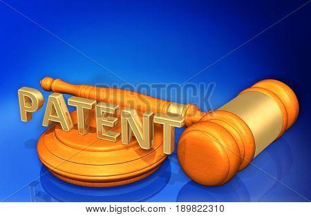 Patent Law Concept 3D Illustration