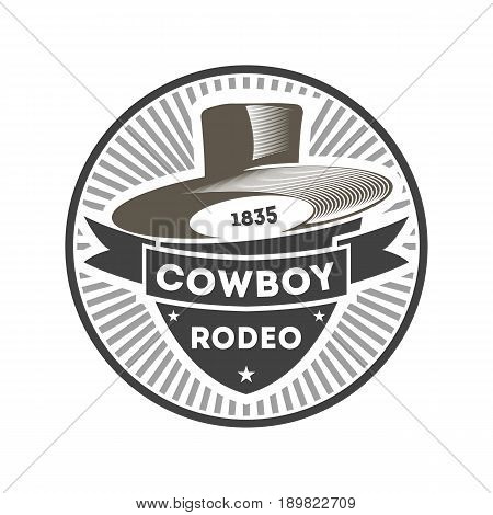 Cowboy rodeo vintage isolated label. American wild west show badge in monochrome style, authentic western event symbol vector illustration.