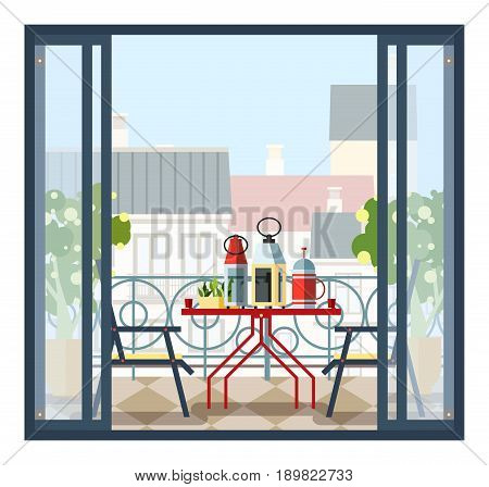 Interior of balcony, table and chairs, potted trees. Beautiful scenery, view of city from open door. Colorful vector illustration in flat style