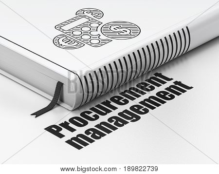 Finance concept: closed book with Black Calculator icon and text Procurement Management on floor, white background, 3D rendering