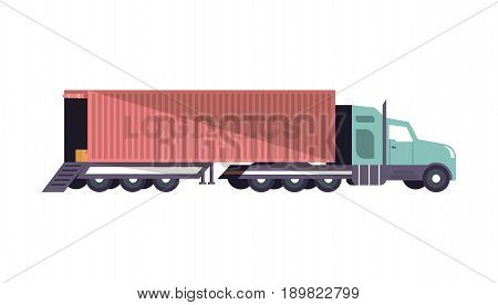 Commercial freight truck loading isolated icon. Modern lorry truck side view, vehicle for cargo transportation, trucking and delivery service vector illustration