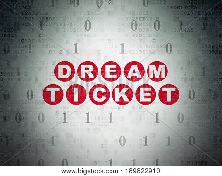 Business concept: Painted red text Dream Ticket on Digital Data Paper background with Binary Code