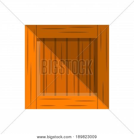 Wooden delivery box vector icon in flat design. Global or local shipping service, logistic company vector illustration isolated on white background.