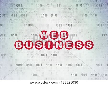 Web design concept: Painted red text Web Business on Digital Data Paper background with Binary Code