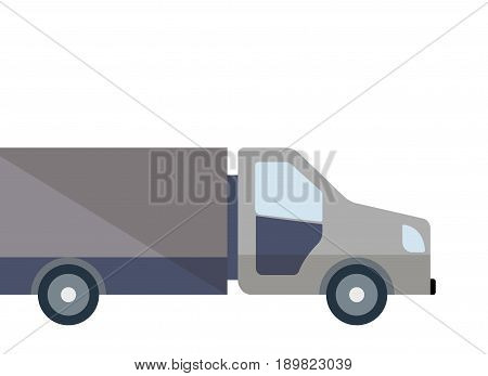 Commercial lorry truck loading isolated icon. Modern freight truck side view, vehicle for cargo transportation, trucking and delivery service vector illustration