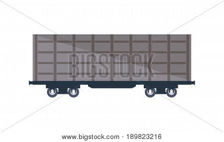 Commercial railway cargo wagon icon. Side view freight container, cargo train on railroad isolated on white background vector illustration.