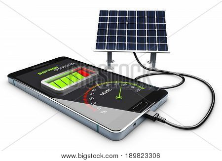3d Illustration of phone charging and Solar Battery.