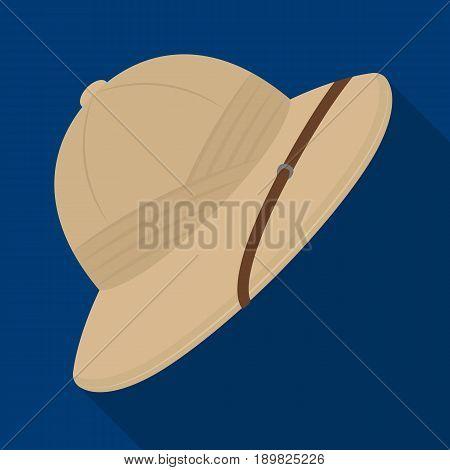 Cork hat from the sun.African safari single icon in flat style vector symbol stock illustration .