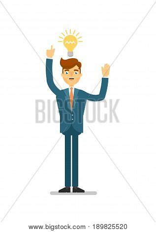 Happy businessman idea generation for startup. Standing young man in business suit, aha moment, creative in business isolated vector illustration.European businessman characters. European businessman cartoon style. Businessman at the work.