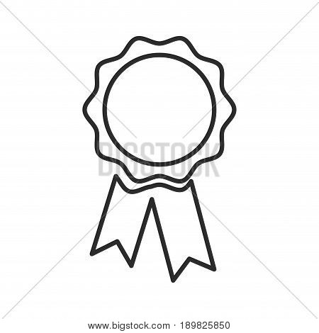 blank award rosette with ribbon vector illustration