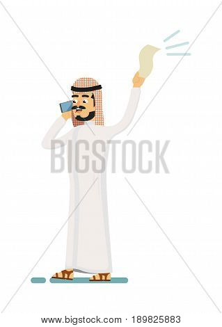Muslim businessman speaking on phone. Standing arabian man in traditional clothing talking about business vector illustration. Muslim businessman characters. Muslim businessman cartoon style. Businessman at the work.