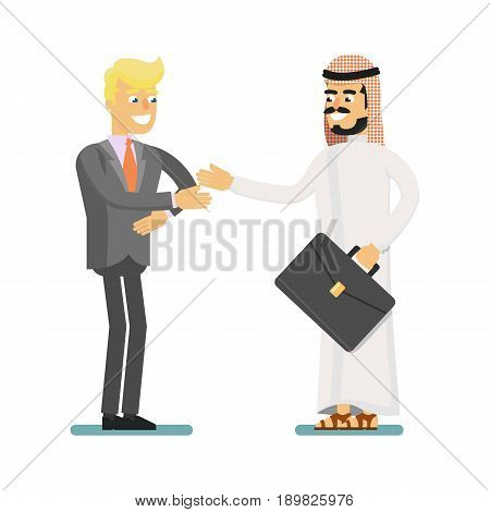 Muslim businessman hold business meeting. Standing arabian man in traditional clothing, business people vector illustration. Muslim businessman characters. Muslim businessman cartoon style. Businessman at the work.