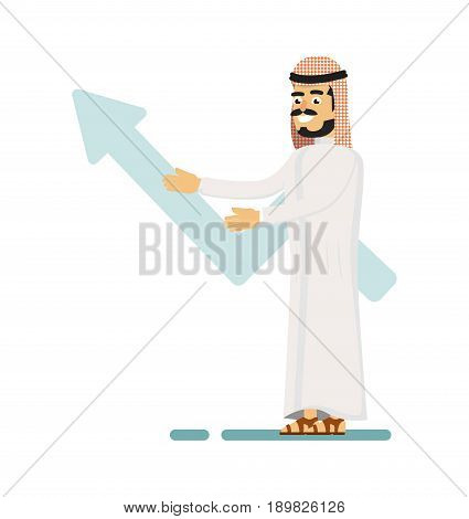 Muslim businessman presentation business growth. Standing arabian man in traditional clothing, business people vector illustration. Muslim businessman characters. Muslim businessman cartoon style. Businessman at the work.