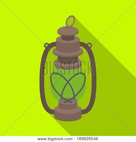 Portable kerosene lamp.African safari single icon in flat style vector symbol stock illustration .